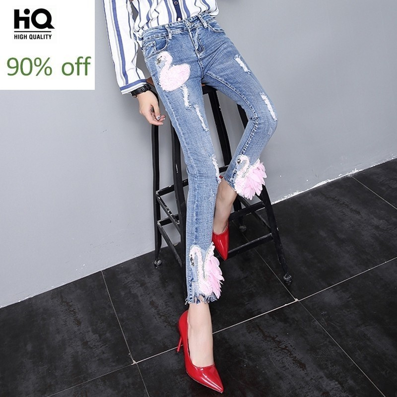 Autumn New Arrival Elegant Ladies Slim Fit Denim Pants For Women Fashion Appliques Ripped Ankle Length Pants Washed Retro Cloth