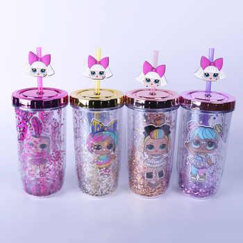 Lol Surprise poupées 300-400ml mignon enfants tasse paillettes couleur Double plastique paille eau tasse dessin animé modèle bouilloire filles cadeaux