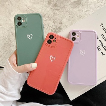 moskado Luxury Love Heart Phone Cover For iPhone 12 Pro 11 Pro Max X XR XS Max 7 8 7Plus Shockproof Soft Silicone TPU Back Case image