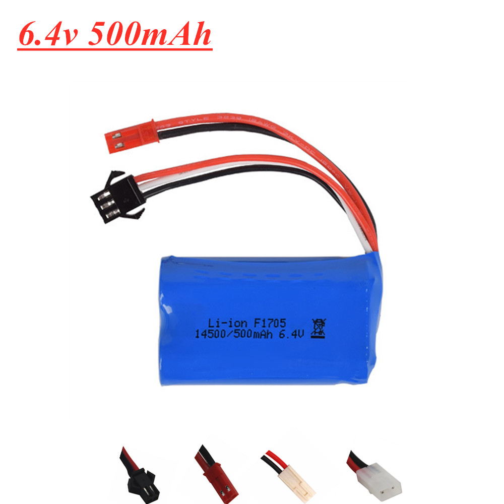 6.4V 500mAh 15c <font><b>Li</b></font>-<font><b>ion</b></font> Battery For WLtoys 18401/02 Toys Car Parts <font><b>14500</b></font> 6.4V Battery with SM-2P/ JST-2P/EL-2P/Tamiya Plug image
