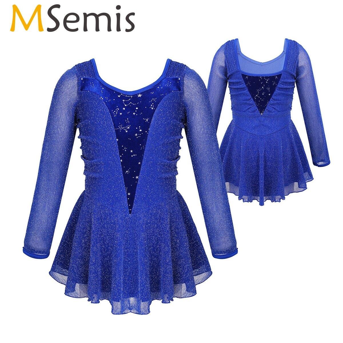 MSemis Girls Ice Skate Figure Skating Dress Kids Shiny Silver See Throug Velvet Ballet Rhythmic Gymnastics Leotard Dance Costume