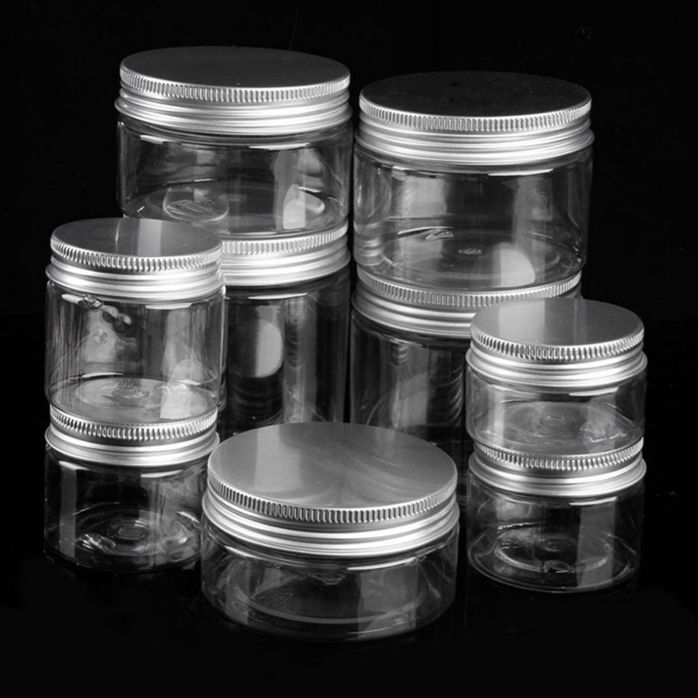 Clear Plastic Jar And Lids Empty Cosmetic Containers Makeup Box Travel Bottle 30ml 50ml 60ml 80ml 100ml 120ml 250ml 500ml