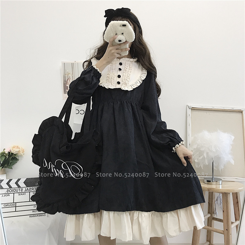 Gothic Retro Girls Lolita Tea Party Dress Anime Cosplay Women Victorian Princess Long Sleeve Dresses Japanese Op Kawaii Costumes image