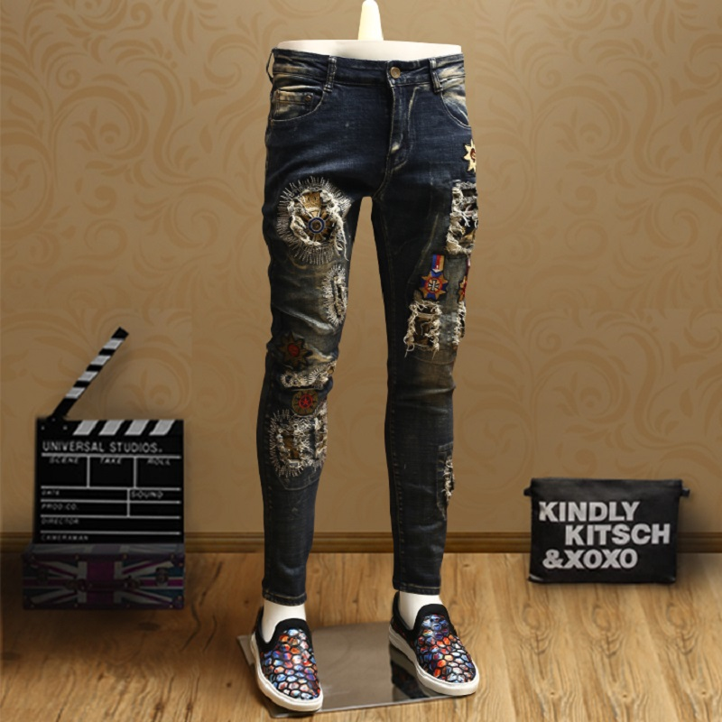 Fashion Mens Skinny Ripped Patch Jeans Streetwear Blue Jean Pencil Pants For Men Badge Denim Trousers