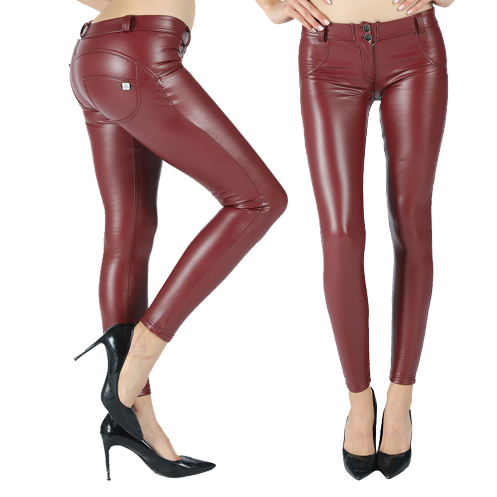 Melody Shiny Leather Pants Four Ways Stretchable Women Pants Full Length Warm Butt Lift Compression Garment Ladies Pants