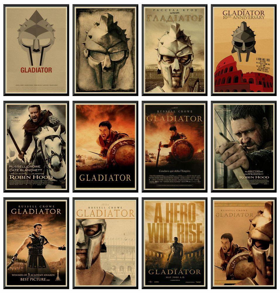 Gladiator Robin Hood Home Furnishing Decoration Kraft Movie Retro Poster Wall Stickers 42X30cm