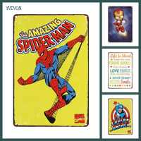 Super héroe Spiderman carteles cartel Chic hogar Decoración Vintage estaño Metal pared placa Bar Pub platos decorativos 20x30cm