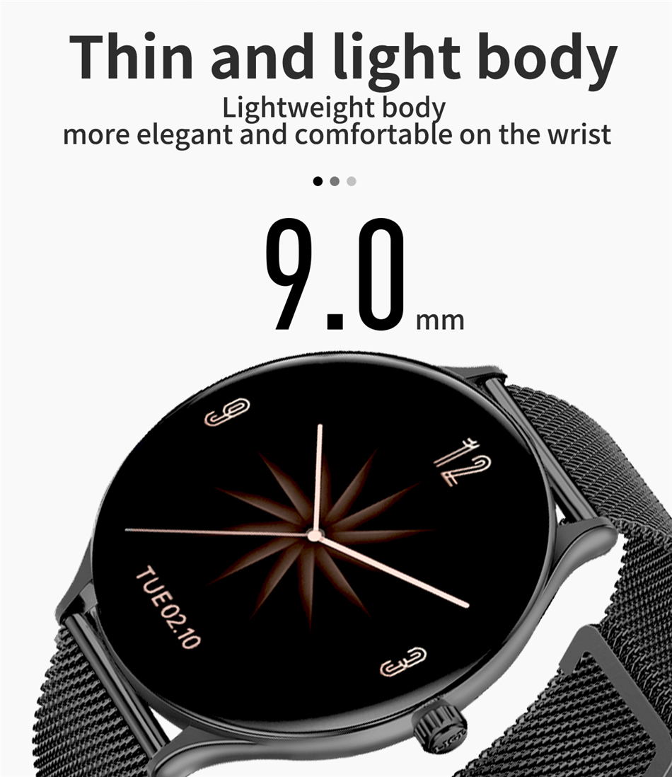 H5c41b28adf7f4d598181cd3b1ece64c8Y 2021 New Full circle touch screen Women smart watch Luxury steel Watch Band Fashion smartwatch Sport Activity tracker For Xiaomi