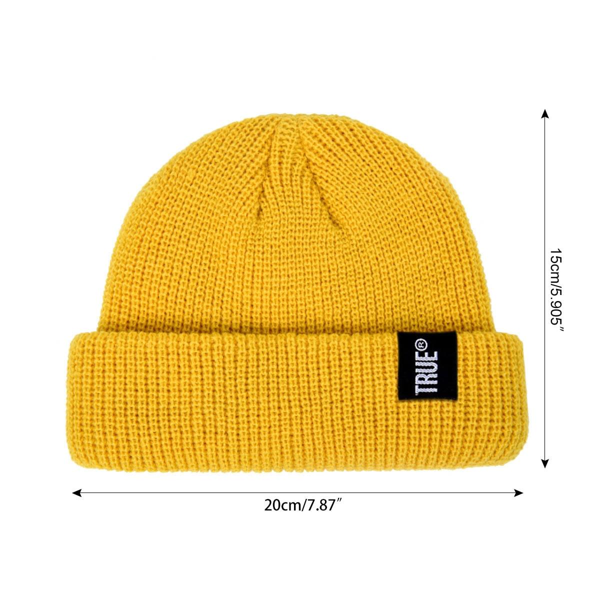 2019 Fashion Unisex Winter Hat Men Cuffed Cib Knit Hat Short Melon Ski Beanies Autumn Winter Solid Color Casual Beanie Hat 14