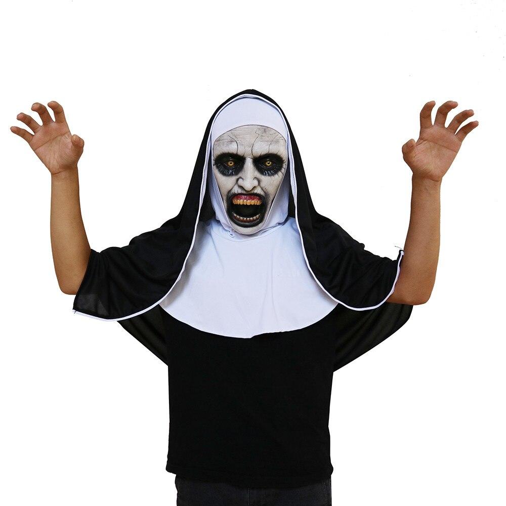 Cosplay Scary Horrible Nun Mask Melting Face Latex Costume Halloween Masquerade