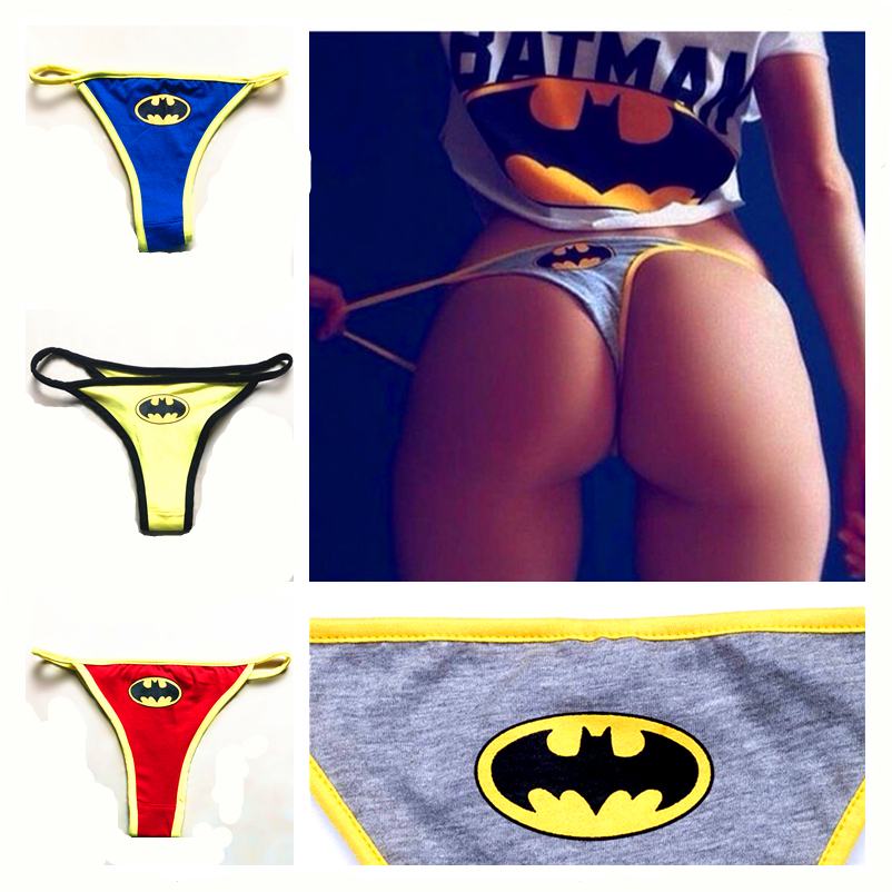 OLOMLB Sexy Women's Superhero Batman Captain Superman Cartoon Underwear G-String   Panties   Women Underwear