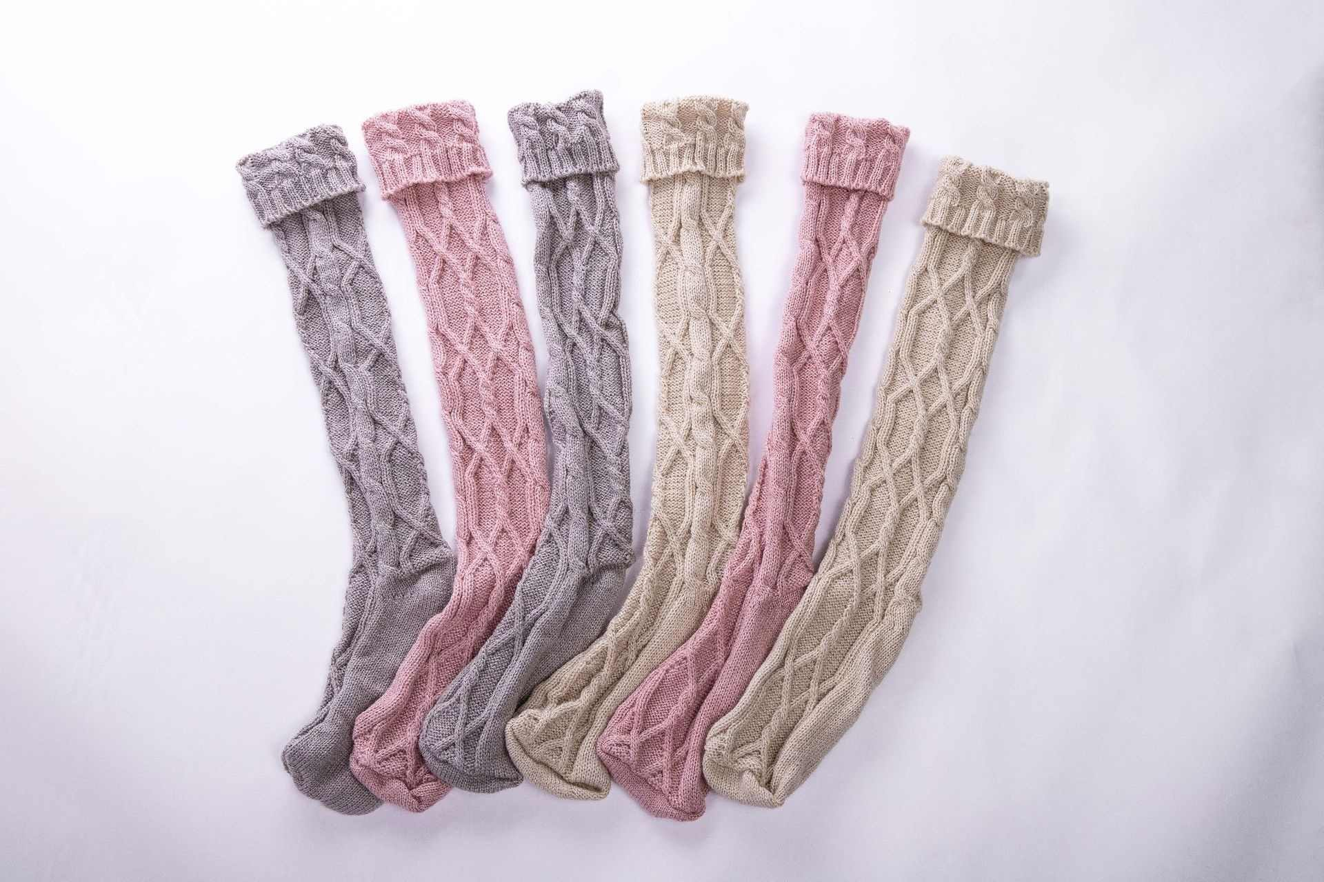 Twist Boot  Striped Kintted High Stocking Over The Knee Cotton Comfortable Warm Autumn Winter Lovely Cute Gifts for Women