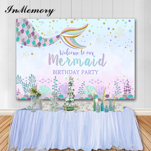 InMemory Little Mermaid Photography Background Photophone Underwater World Baby Birthday Party Background For Photo Studio