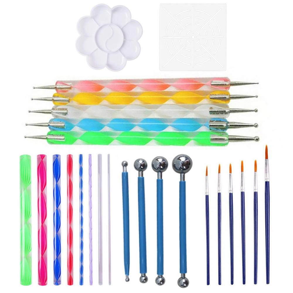 25 PCS Mandala Painting Dotting Tools With Dotting Rods Ball Stylus Pen Stencil Paint Tray Brushes For Nail Rock Fabric Wall Art