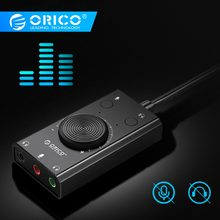 ORICO Portable USB External Sound Card Microphone Earphone Two-in-One With 3-Port Output Volume Adjustable For Windows/Mac/Linux(China)