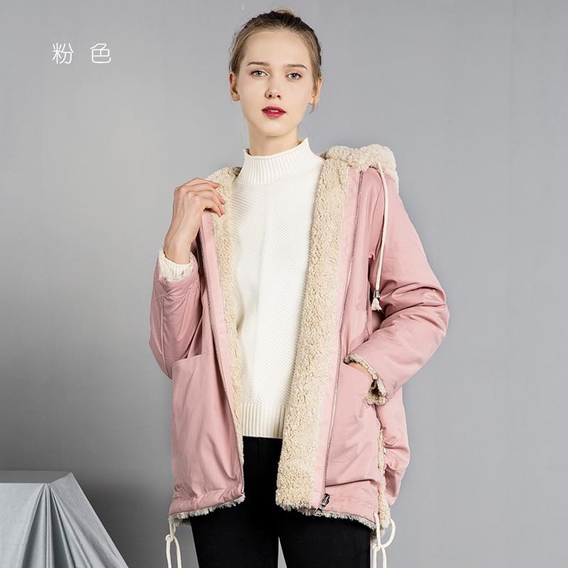Parka Women's  Reversible Soft Nap Fur Mid-length Hooded Coat Overcoat Women's Woolen
