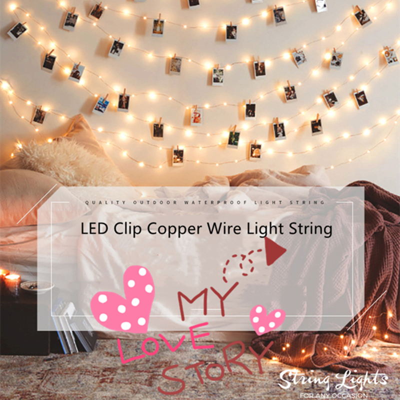 LED String Light Photo Clip USB Copper Wire Fairy Light Outdoor Battery Operated Garland Christmas Decoration Party Wedding Xmas