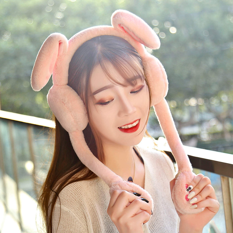 1pc 60cm Funny Rabbit Hat Headband Ear Warmer with Ears Moving Plush Toy Stuffed Soft Hat Doll Cute Birthday Gift FOR Kids Girl