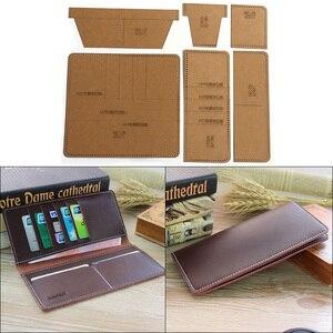 1Set DIY Kraft Paper Template New Fashion Cute Long Wallet Clutch Leather Craft Pattern DIY Stencil Sewing Pattern 9cm*10cm