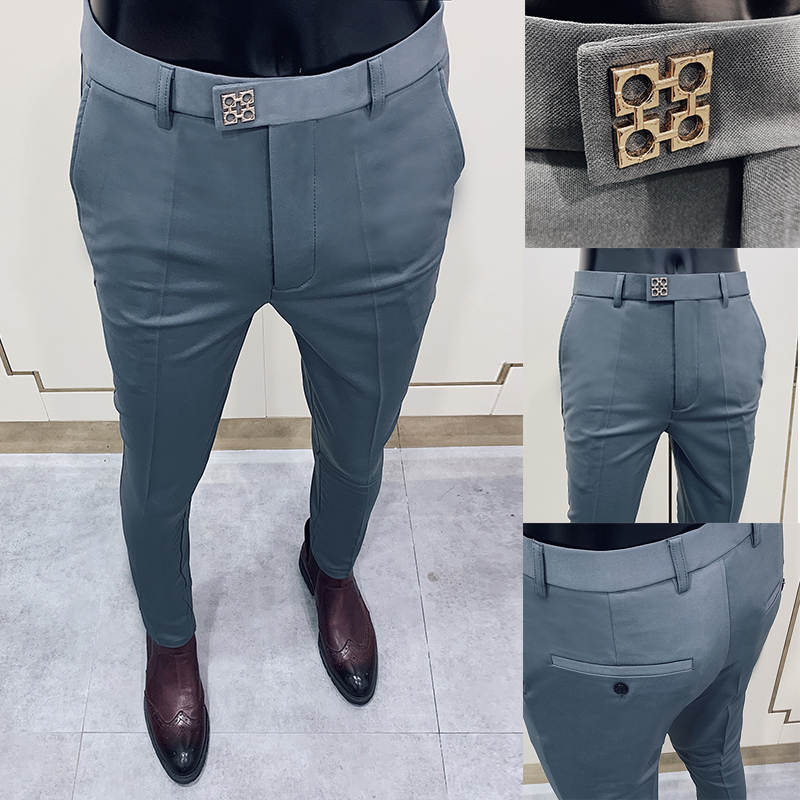 Business Suits Pant Men Gray Casual 2020 Pants Pantalon Homme High Quality Stretch Slim Formal Suit Trousers Dress Trousers