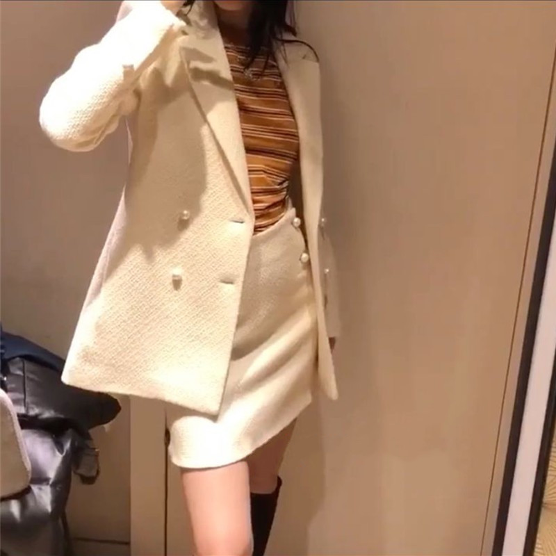 Pearl Button Blazer Wool Suit Jacket Autumn Winter Office Lady Double Breasted Jacket