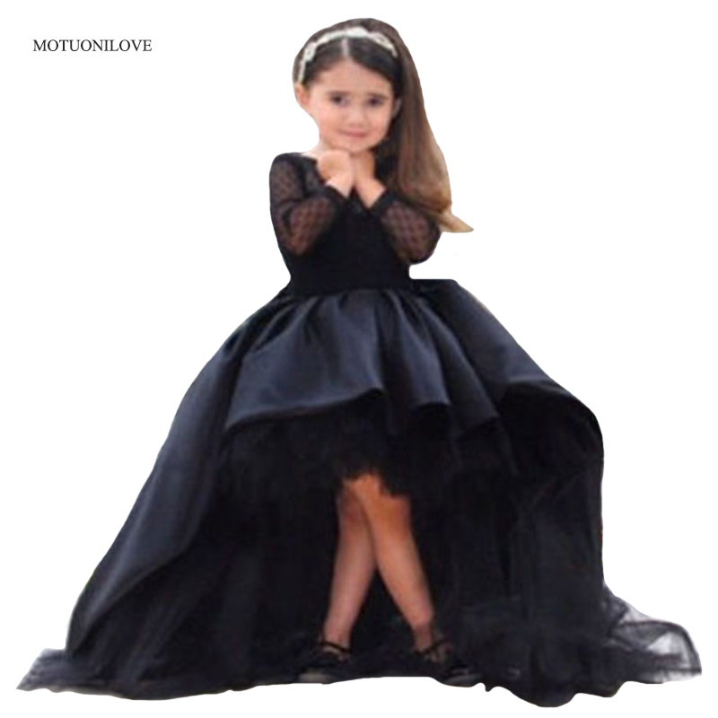 Long Sleeves O Neck High Low Princess Pageant Dresses Black Short Front Long Back First Communion Dresses Kids Party Prom Gowns
