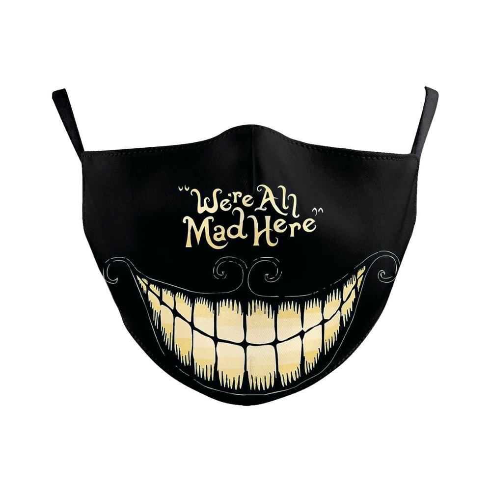 NADANBAO Adult Big Mouth 3D Printed Face Fabric Masks La casa de papelSkull Reusable Protection Dust Washable Masks Proof  Mask