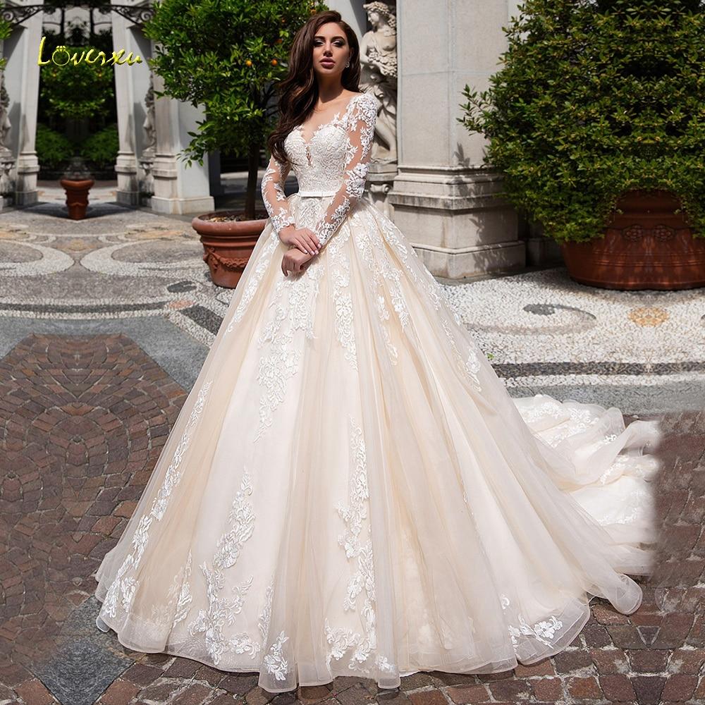 Loverxu Scoop Ball Gown Wedding Dresses 2019 Delicate Appliques Long Sleeve Button Bride Dress Court Train Bridal Gown Plus Size