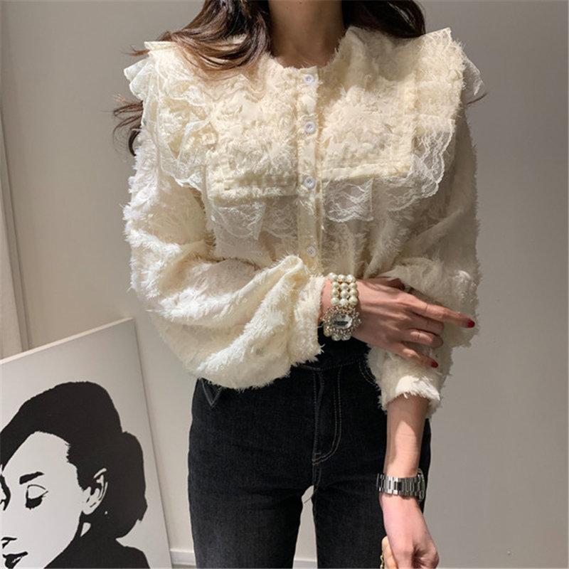 HziriP Sweet Casual Loose Casual 2020 Korean Style Feminine New Design Hot Sale Elegant Ruffles Fashion Gentle Women Shirts