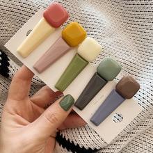 1PCS Korea Sweet Resin Macaron Color Hairpins Women Girls Geometric Irregular Rectangle Hit Hair Clips Accessories