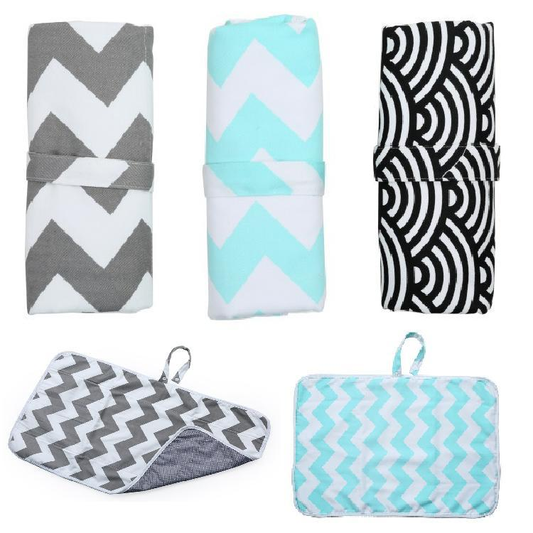 Newborn Products Go Out Baby Changing Diaper Pad Waterproof Diaper Pad Foldable Cotton Wave Pattern Soft Baby Pad