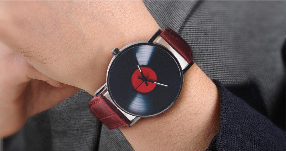 H5c431b5884e64de18d1175755d4f215cR 2020 Fasion Men's Watch Neutral Watch Retro Design Brand Analog Vinyl Record Men Women Quartz Alloy Watch Gift Female Clock NEW