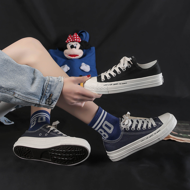2020 Spring South Korea Ulzzang Versatile Canvas Shoes INS White Shoes Women's College Style Street Snap Chao Yuan Wave 2221