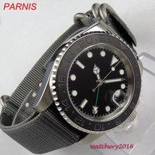 2019 ใหม่ล่าสุด 40mm Parnis Black sterile สายนาฬิกาไนล่อนวันที่ไพลินกระจกส่องสว่างเครื่องหมาย GMT ผู้ชายอัตโนมัตินาฬิกา