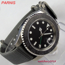 2019 Newest 40mm parnis Black sterile dial Nylon strap Date Sapphire Glass Luminous Marks GMT Automa
