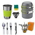 32882375984 - Juego de utensilios de cocina de aleación de aluminio para acampar al aire libre, olla de Camping, senderismo, Picnic, vajilla turística, con cuchara plegable, Mini estufa de Gas