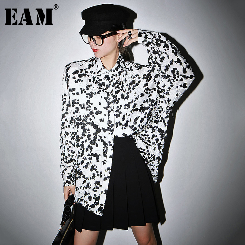 [EAM] Women Pattern Printed Pleated Big Size Blouse New Lapel Long Sleeve Loose Fit Shirt Fashion Tide Spring Autumn 2020 1S562