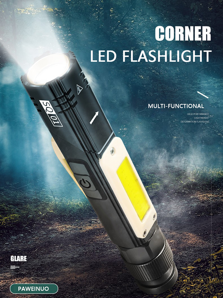 Led Flashlight Working Light Usb Charge Build-in Battery Torch Garage Tool Car Repair Lamp Camping Hand Light With Magnet Clip