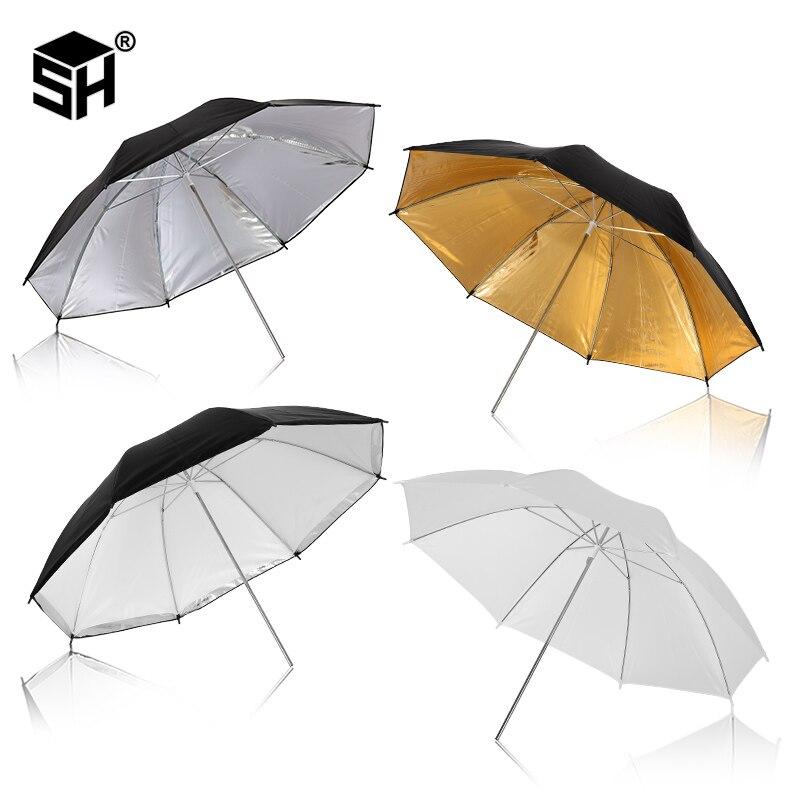 Photo Studio Umbrella Set 33 ' 84 cm  White Soft Light Umbrella + Dual-use Reflective Umbrella 4 Pieces Photography Accessories