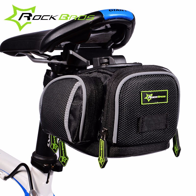Rockbros Bicycle Saddle Bag With Rain Cover Rainproof Road Mountain Bike Rear Seat Bag Cycling Rear Pannier Bike Accessories