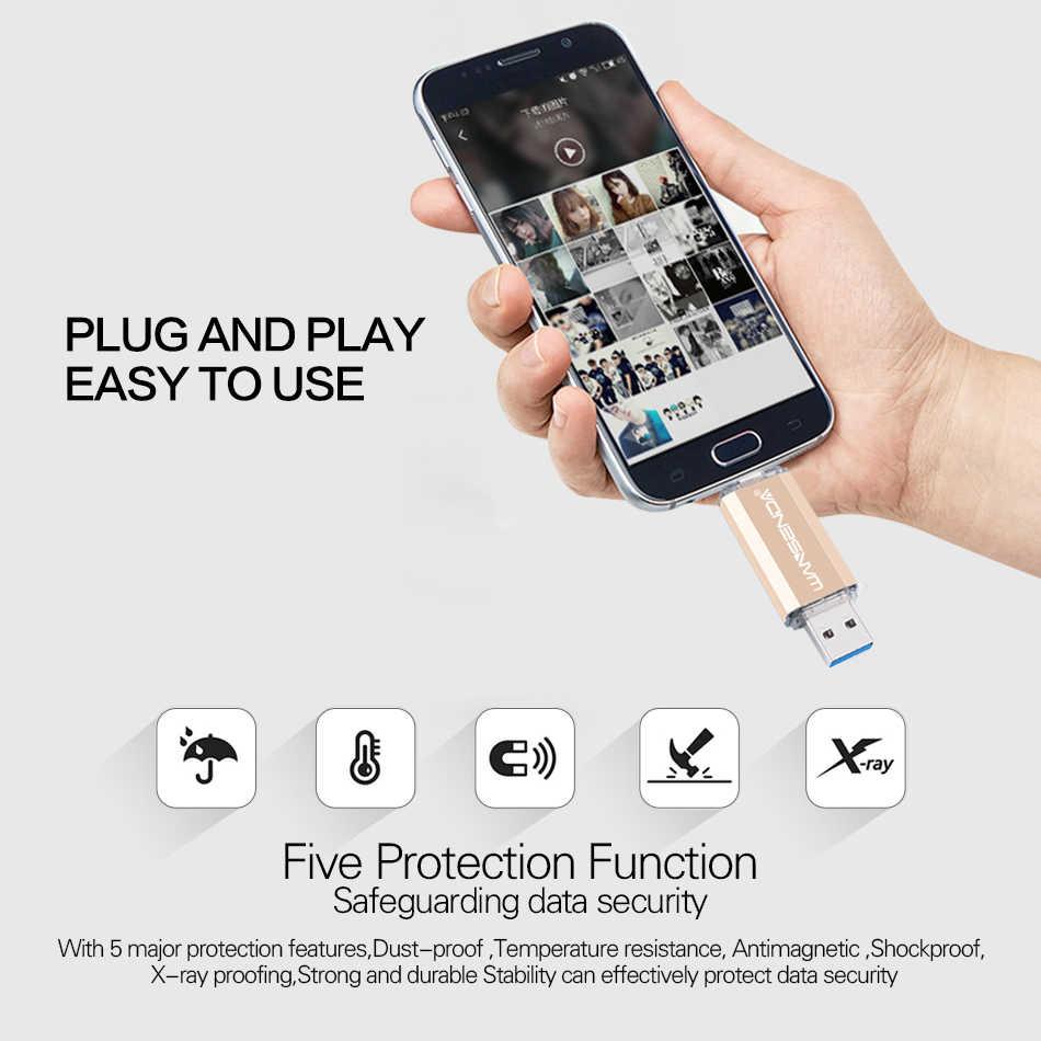 Wansenda タイプ c otg usb フラッシュドライブ usb 3.0 ペンドライブのためのタイプ c 携帯/pc 512 ギガバイト 256 ギガバイト 128 ギガバイト 64 ギガバイト 32 ギガバイトの高速 usb スティック