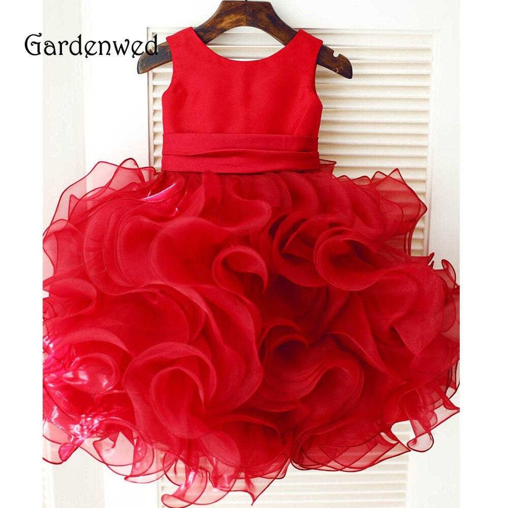 Gardenwed 2019 Lovely Red Primera Comunion Kids Bridal Dresses Back Rose Flowers Satin Belt Ruffle Skirts Puffy Flower girl Gown