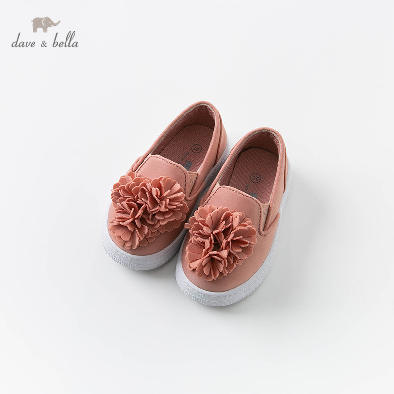 DB12912 Dave Bella Spring Baby Girl Solid Shoes New Born Girl Casual Shoes Floral Shoes Brand Shoes