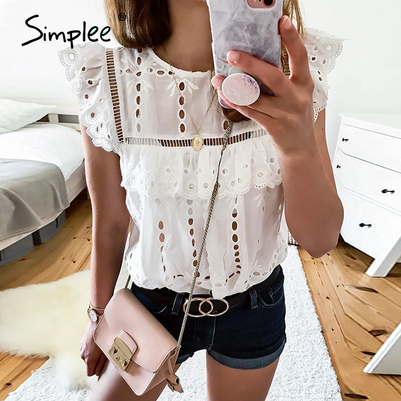 Simplee Casual White Sexy Summer Women Blouse Shirt Ruffles Vintage Embroidery Hollow Out Blouse Sleeveless Feminino Blusas