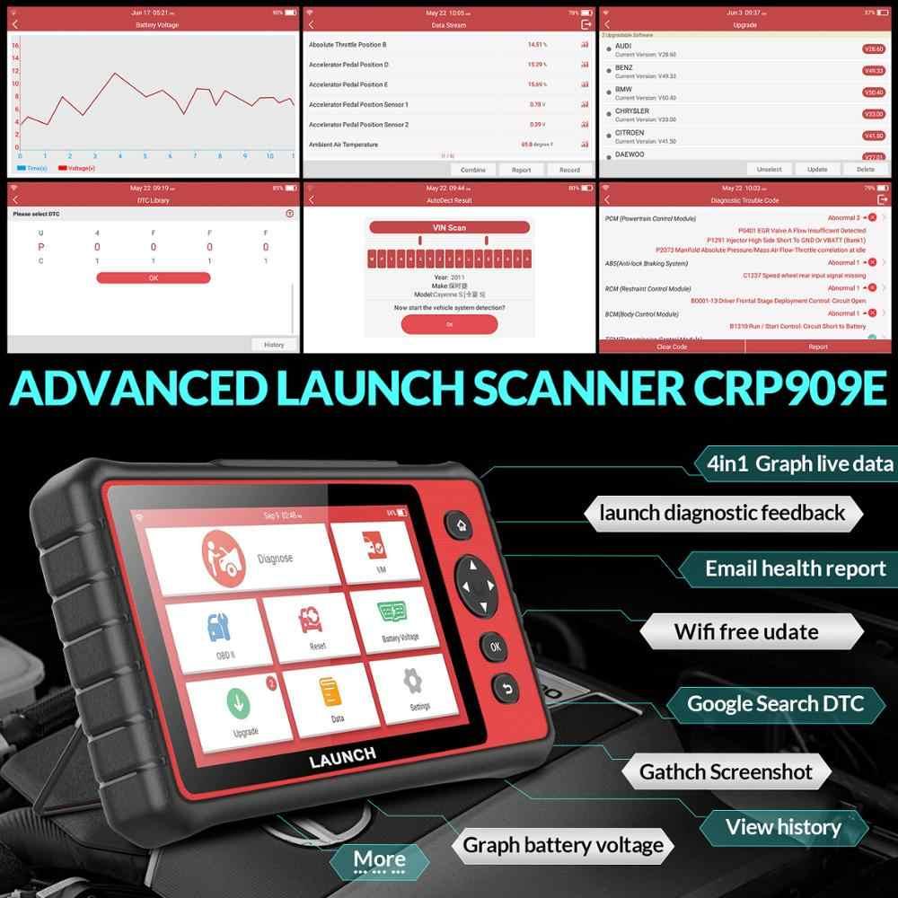 Uruchom X431 CRP909E narzędzie diagnostyczne OBD CRP909 E profesjonalny pełny układ skaner samochodowy ma IMMO/Intector kodowania więcej funkcji