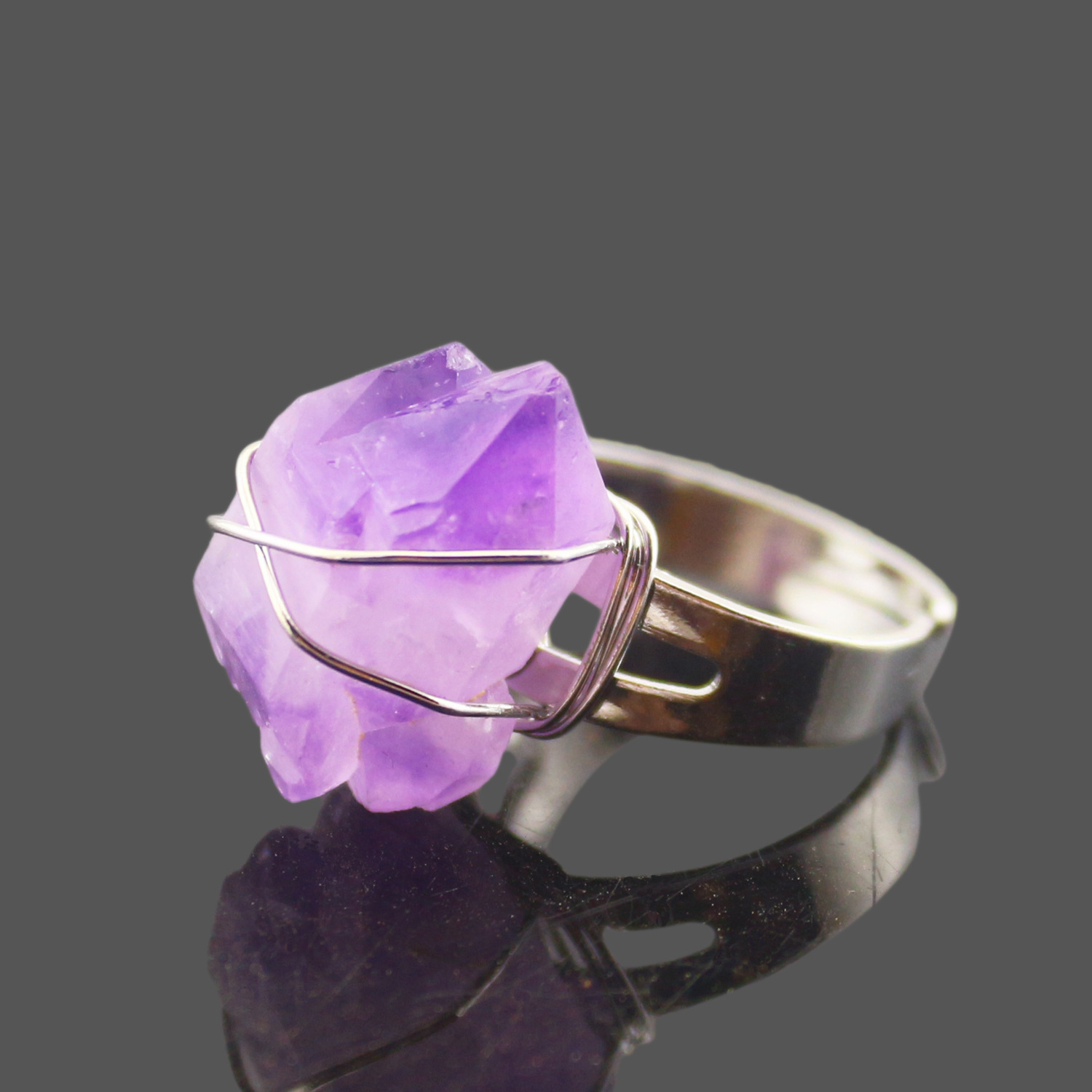 <font><b>Raw</b></font> Natural Cluster Stone <font><b>Ring</b></font> Wire Wrapped Adjustable <font><b>Ring</b></font> for Women Men Amethysts Quartz <font><b>Crystal</b></font> Vintage Finger <font><b>Rings</b></font> Jewelry image
