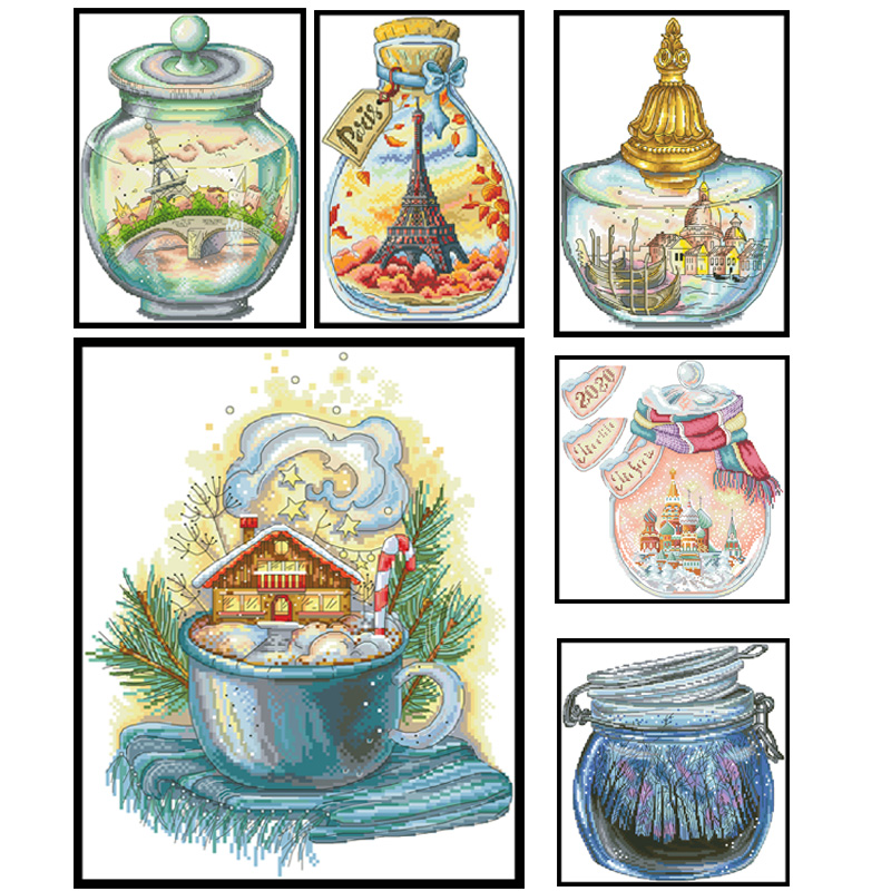 Landscape Series Cross Stitch Kits Patterns Printed Fabric Embroidery Needlework Sets 11CT 14CT DIY Sewing Craft Canvas Painting