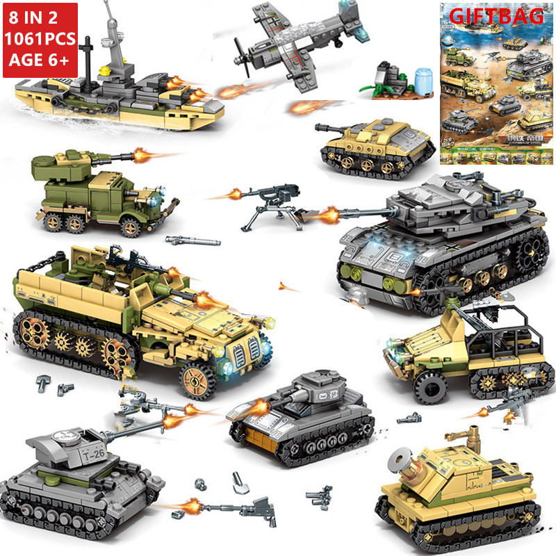 1061Pcs High tech Military Iron Empire Tank Building Blocks Sets Weapon War Chariot Creator Bricks Army WW2 Soldiers Kids Toys
