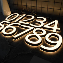 Mini House Numbers 0-9 ABC Acrylic 3D Modern Customs Door Plates Stainless Steel Letter Sign Plate  Address Number for House