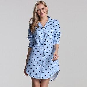 Image 2 - 100% cotton women nightgown cotton sleepwear women Plus size night dress cotton nighties for women long sleeve nightwear